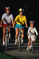 Family bicycling; Size=130 pixels wide
